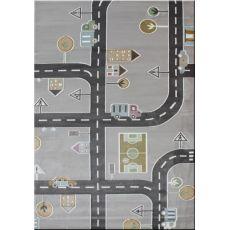 Παιδικό χαλί με το μέτρο Baby Road 095 Grey